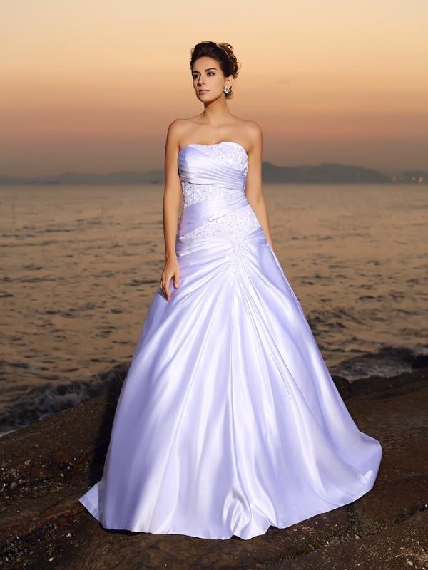 Da ballo Senza spalline Perline Senza Maniche Lungo Raso Spiaggia Abiti da Matrimonio