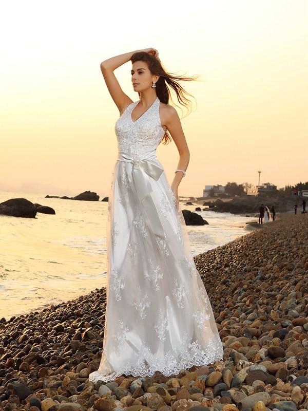 Principessa Scollo ad anello Sciarpa/Nastro/Cintura Senza Maniche Lungo Pizzo Spiaggia Abiti da Matrimonio