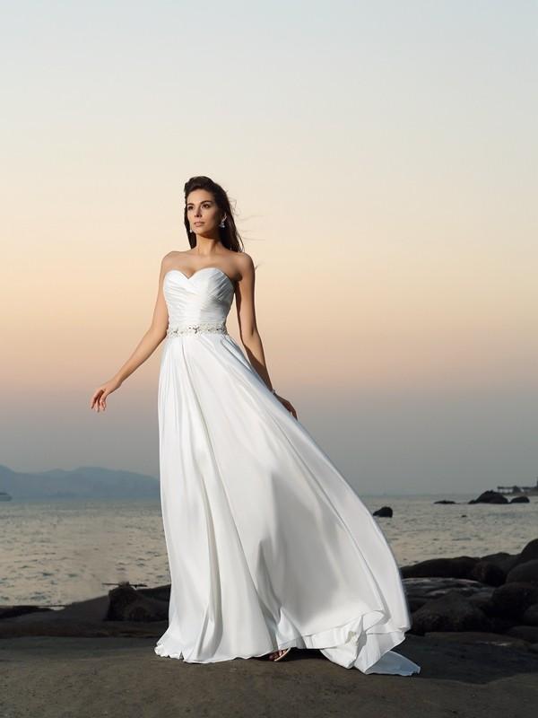 Principessa Scollatura a cuore Perline Senza Maniche Lungo Taffettà Spiaggia Abiti da Matrimonio