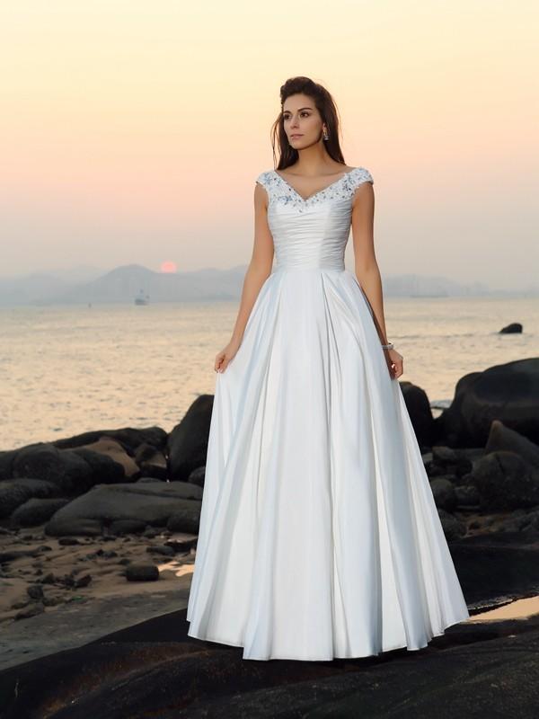 Principessa Scollo a V Perline Senza Maniche Lungo Taffettà Spiaggia Abiti da Matrimonio