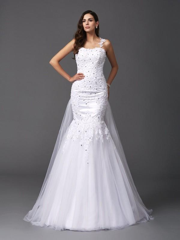 Sirena Spalline Perline Senza Maniche Lungo Rete Abiti da Matrimonio