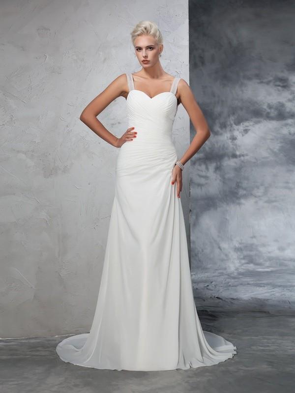 Sirena Spalline Increspato Senza Maniche Lungo Chiffona Abiti da Matrimonio