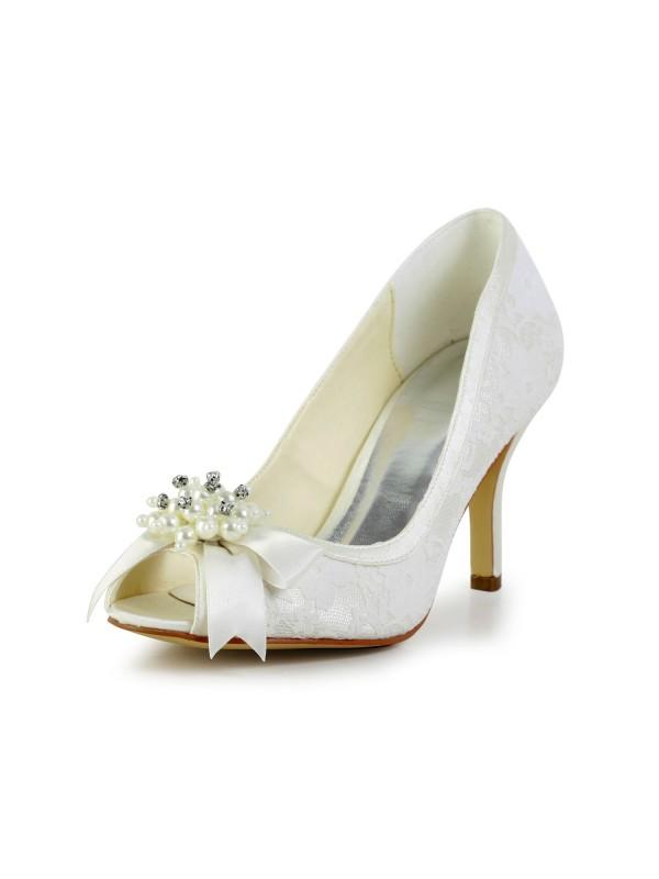 Donna Raso tacco a spillo Pumps Con Imitation Pearl and Fiocco Ivory Scarpe da sposa