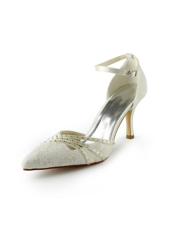 Donna Gauze tacco a spillos Closed-toe Perline White Scarpe da sposa