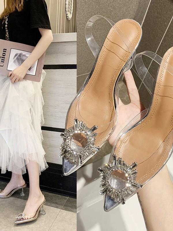 Women's Strass Kitten Heel Closed Toe sandali