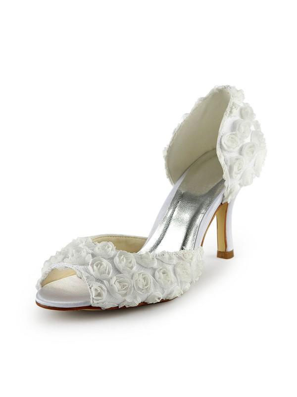 Donna Bellissima Raso tacco a spillo Peep Toe Con Flowers White Scarpe da sposa