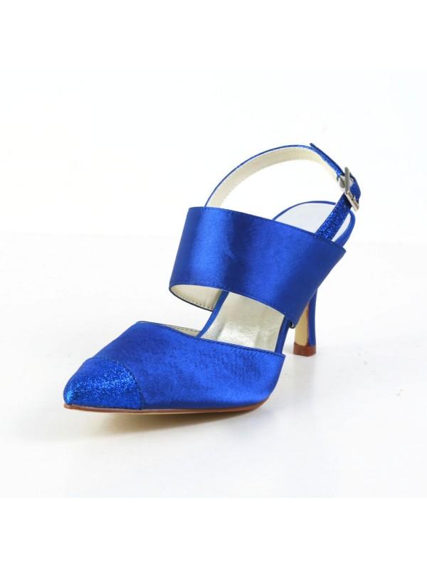 Donna Graceful Raso tacco a spillo Sandals punta chiusa bianca Scarpe da sposa