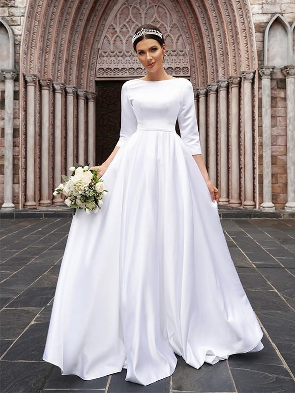 A-Line/Principessa Raso Fiocco Scollo a barchetta Maniche a 3/4 Sweep/Spazzola treno Abiti da sposa