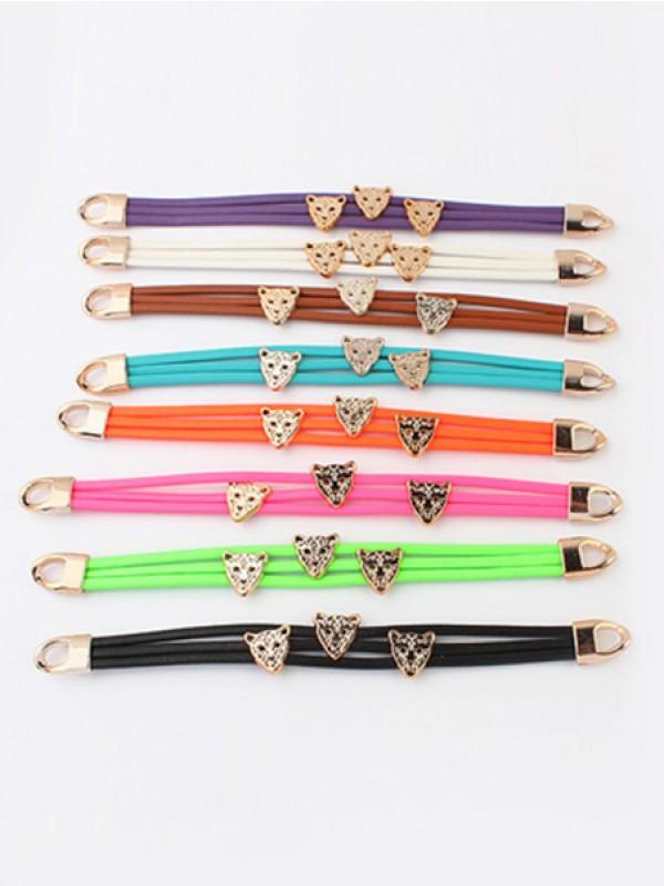 Occidente Candy colors Summer tutto-fiammifero Leopard head vendita calda Bracciali
