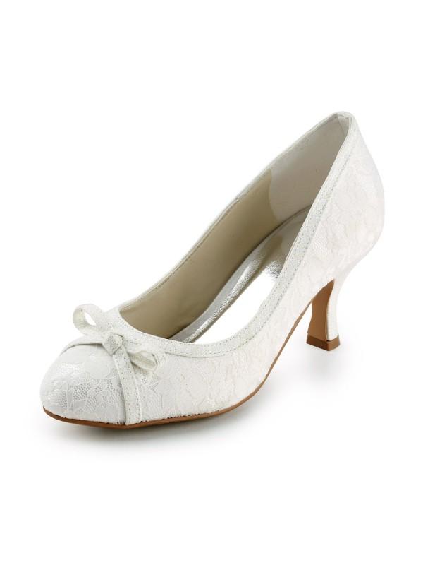 Donna Raso Spool Heel punta chiusa Pumps Ivory Scarpe da sposa Con Fiocco