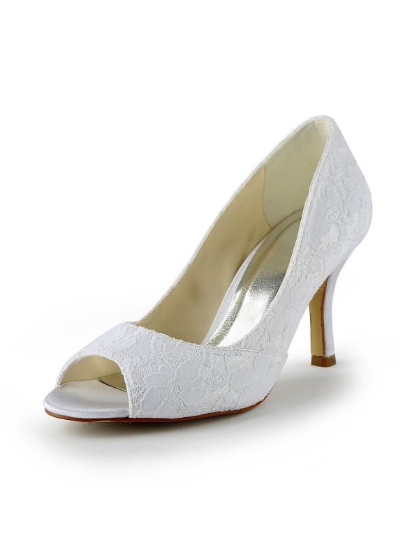 Donna Pizzo Raso tacco a spillo Peep Toe Sandals White Scarpe da sposa