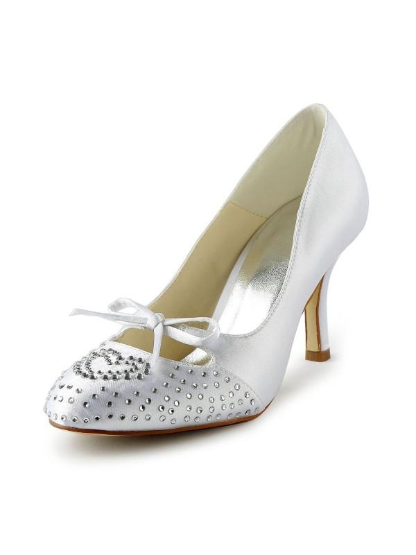 Donna Lovely Raso tacco a spillo punta chiusa Con Strass White Scarpe da sposa