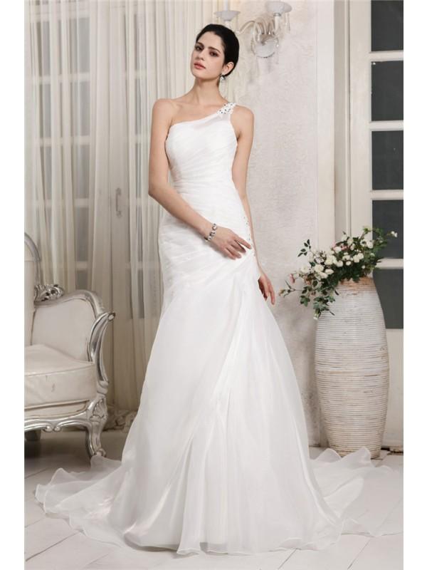 Sirena Monospalla Senza Maniche Perline Applique Lungo Del Organza Abiti da Matrimonio