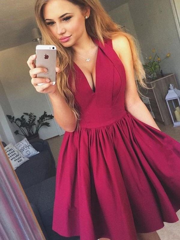 A-Line/Principessa Scollatura a V Raso Increspato Senza maniche Corto/Mini Dresses