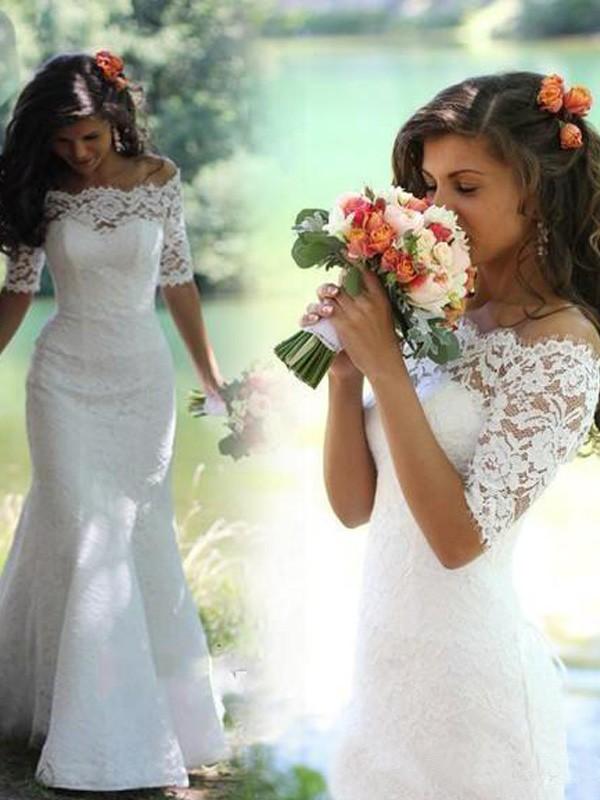 Sirena Spalle scoperte Mezze maniche Pizzo Strascico Informale Abiti da Matrimonio