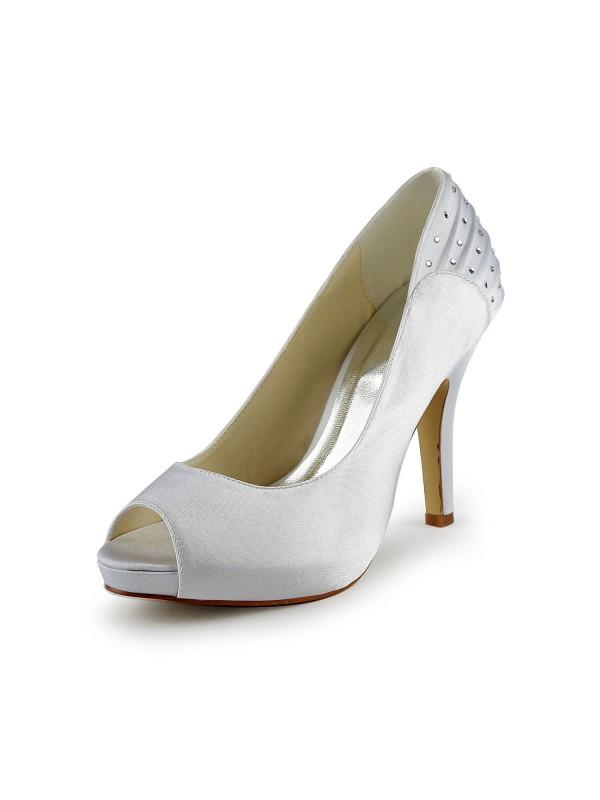 Donna Raso tacco a spillo Peep Toe Con Strass White Scarpe da sposa