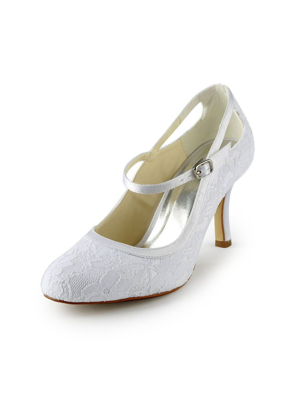 Donna Pretty Raso tacco a spillo Pumps Con Buckle White Scarpe da sposa