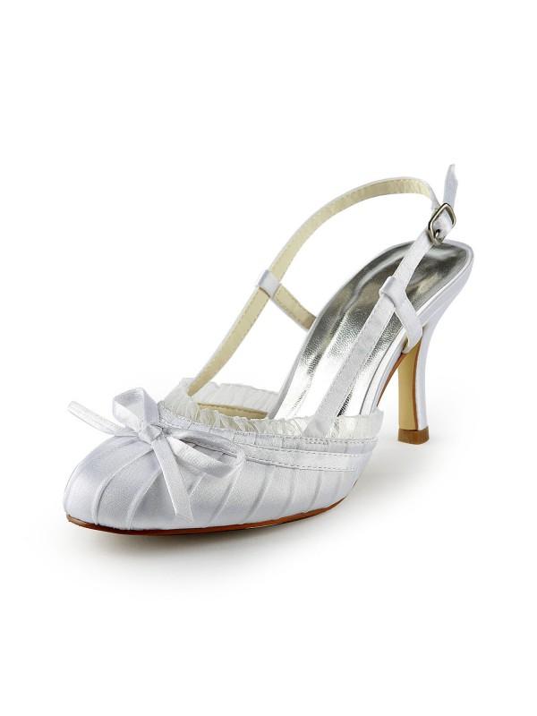 Donna Pretty Raso tacco a spillo Sandals punta chiusa Con Buckle White Scarpe da sposa
