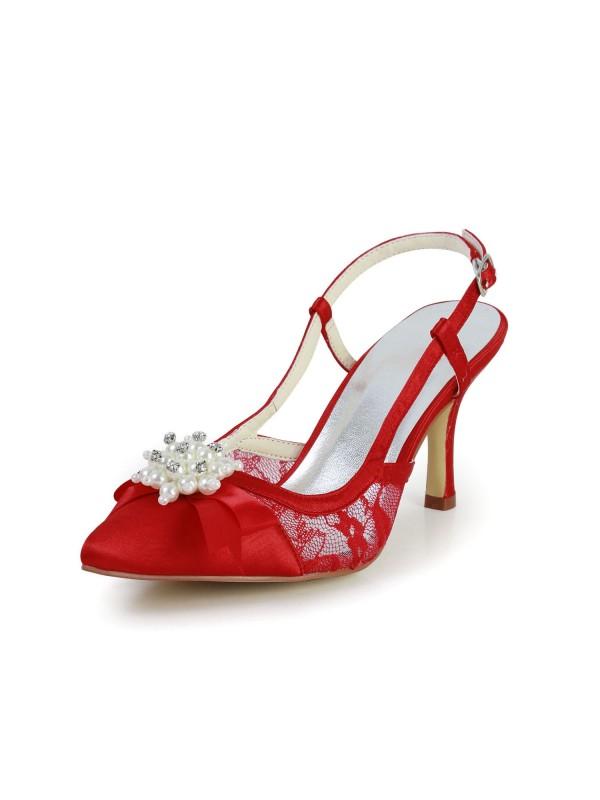 Donna Bella Raso tacco a spillo Sandals punta chiusa Con Pearl Red Scarpe da sposa