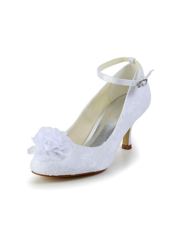 Donna Raso punta chiusa bianca Scarpe da sposa Con Flower Buckle