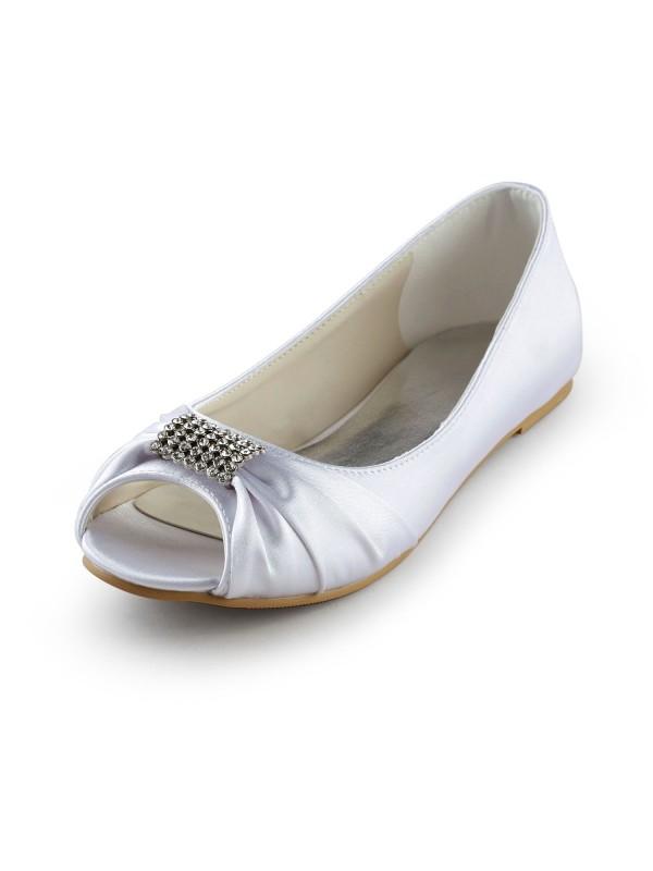 Donna Raso Flat Heel Peep Toe Sandals White Scarpe da sposa Con Strass