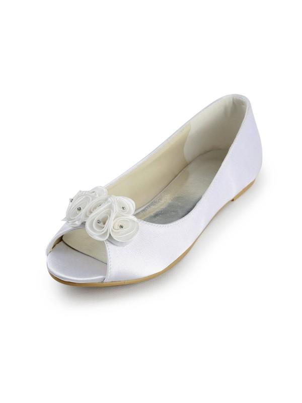 Donna Raso Flat Heel Peep Toe Sandals White Scarpe da sposa Con Raso Flower
