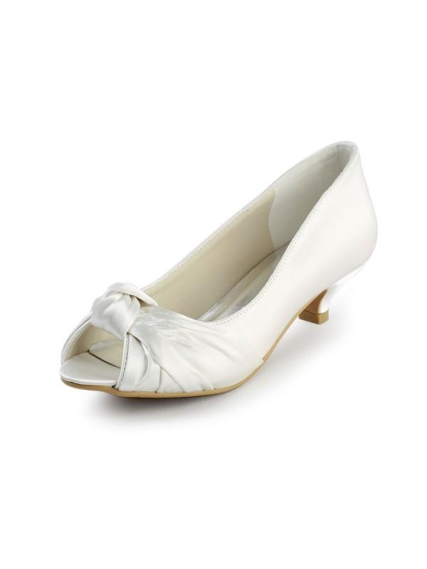 Donna Raso Kitten Heel Peep Toe Sandals White Scarpe da sposa Con Fiocco