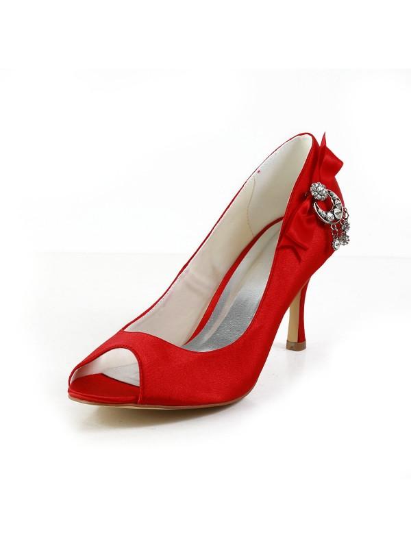 Donna Raso Peep Toe Spool Heel Con Fiocco Red Scarpe da sposa