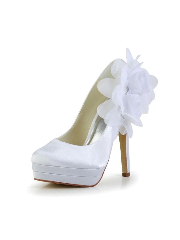 Donna Raso tacco a spillo punta chiusa Piattaforme Pumps White Scarpe da sposa Con Raso Flower