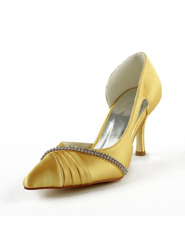 Donna Raso tacco a spillo punta chiusa Pumps Gold Scarpe da sposa Con Strass