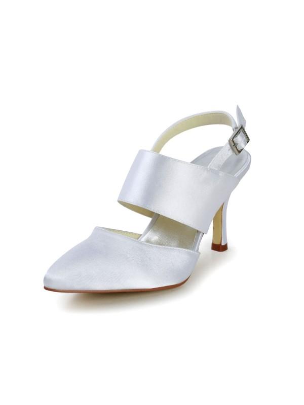 Donna Raso tacco a spillo punta chiusa Con Buckle bianca Scarpe da sposa