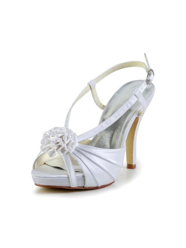 Donna Raso tacco a spillo Peep Toe Piattaforme bianca Scarpe da sposa Con Buckle