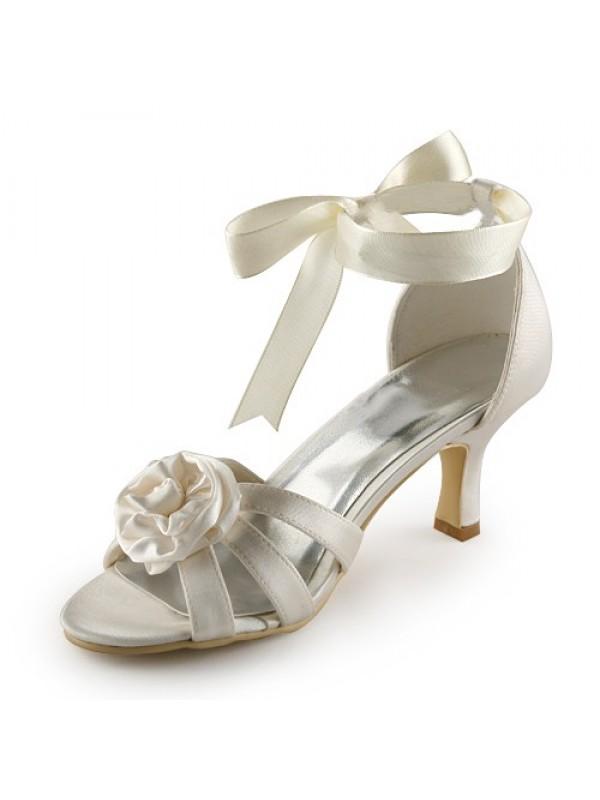 Donna Raso tacco a spillo Sandals Ivory Scarpe da sposa Con Raso Flower