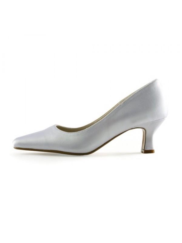 Donna Raso Upper tacco grosso Pointed Toe White Scarpe da sposa
