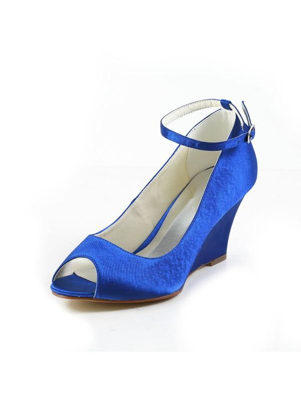 Donna Raso Zeppa Wedges Peep Toe cunei scarpe Con Buckle
