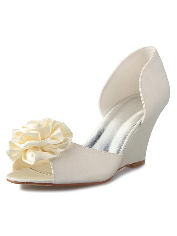 Donna Zeppa Raso Peep Toe Con Flower bianca Scarpe da sposa