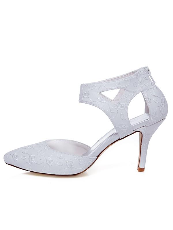 Donna Raso punta chiusa Spool Heel Zipper Scarpe da sposa
