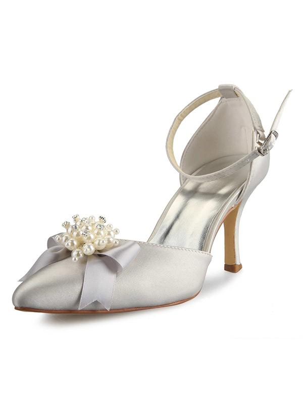 Donna Spool Heel Raso punta chiusa Con Pearl Fiocco bianca Scarpe da sposa