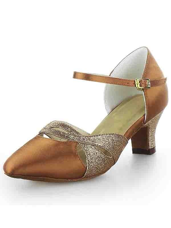 Donna Raso punta chiusa tacco grosso Buckle Sparkling Glitter Scarpe da ballo
