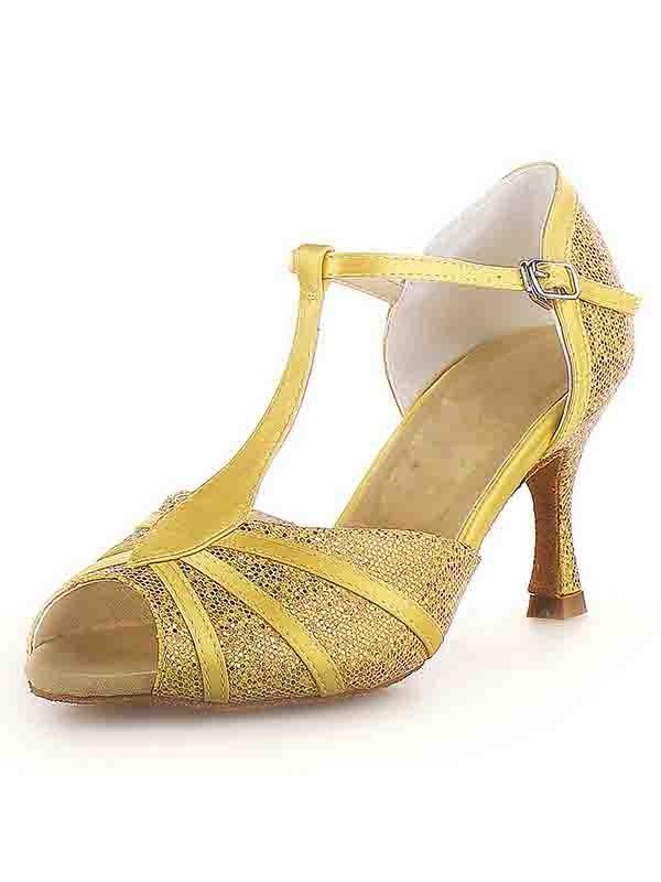 Donna Peep Toe tacco a spillo Raso Buckle Sparkling Glitter Scarpe da ballo