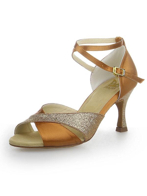 Donna Peep Toe Sparkling Glitter Raso tacco a spillo Scarpe da ballo