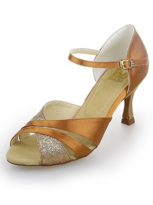 Donna Peep Toe Raso tacco a spillo Sparkling Glitter Scarpe da ballo
