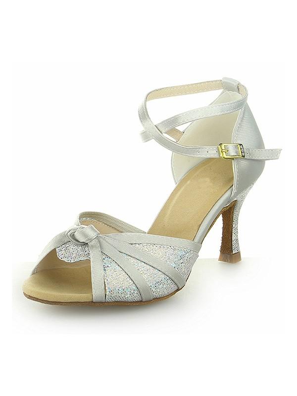 Donna Peep Toe Con Sparkling Glitter Raso tacco a spillo Scarpe da ballo