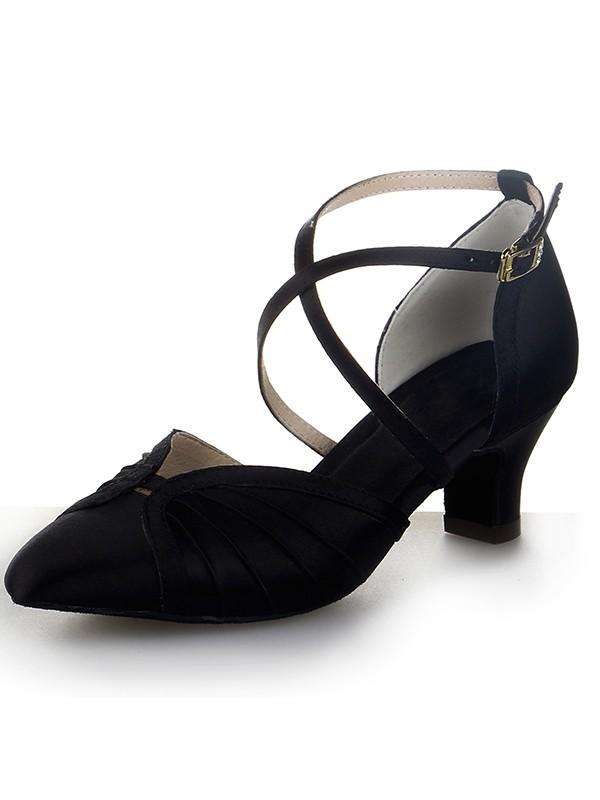 Donna punta chiusa Raso tacco grosso Buckle Scarpe da ballo