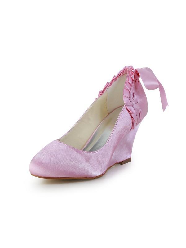 Donna Unique Raso Zeppa punta chiusa Pink Scarpe da sposa