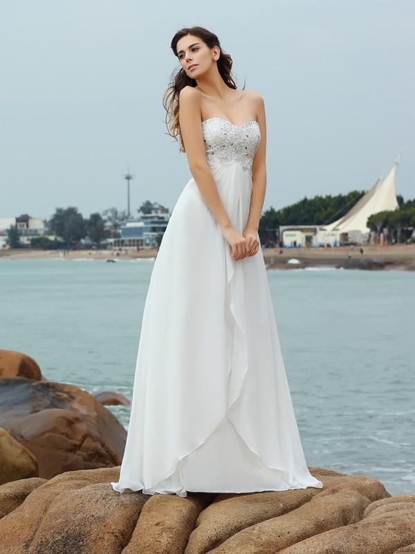 Principessa Scollatura a cuore Perline Senza Maniche Lungo Chiffona Spiaggia  Abiti da Matrimonio 32ec8bb8701