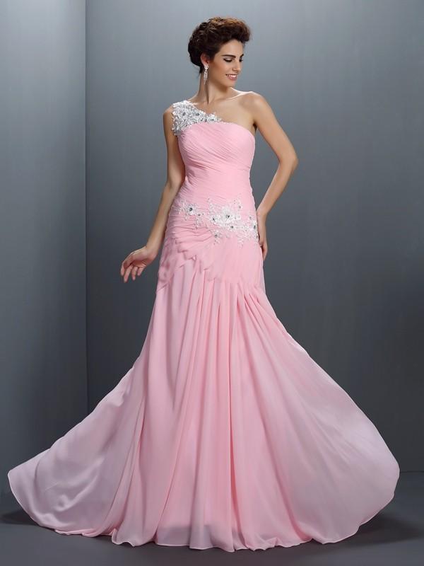 Principessa Monospalla Perline Senza Maniche Applique Lungo Chiffona Abiti 8f813aeecf6