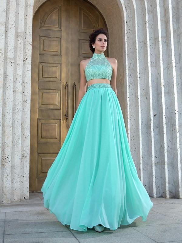 Vestiti Cerimonia Due Pezzi.Principessa Collo Alto Perline Senza Maniche Lungo Chiffona Due