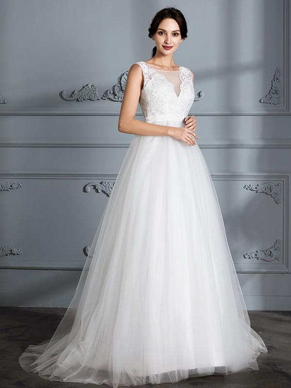 60c384daa712 Principessa Senza maniche Scollatura a V Strascico Informale Tyll Abiti da  Sposa