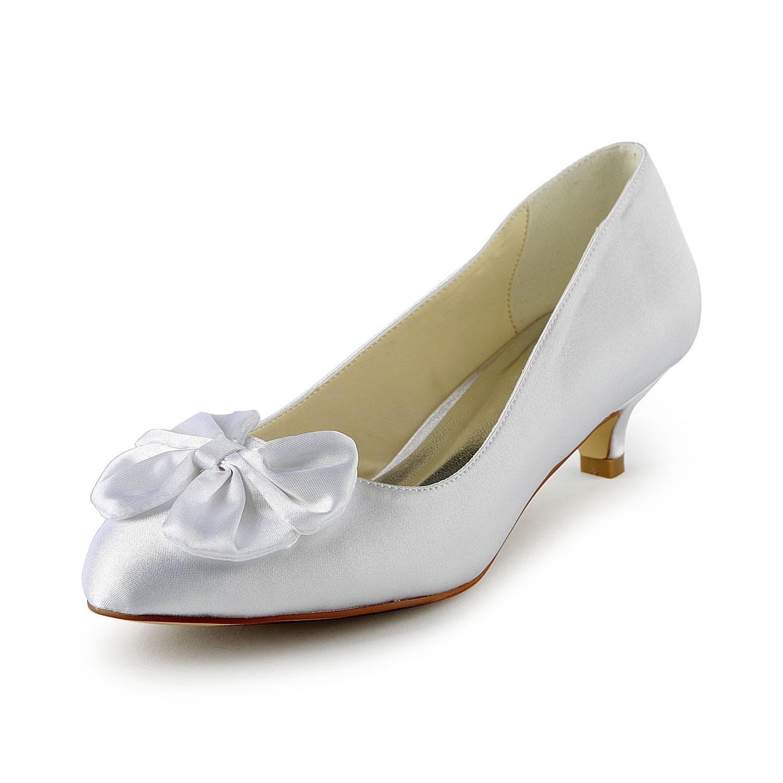 Scarpe Kitten Raso Da Sposa Donna Fiocco Con White Heel Pumps Ow0aU